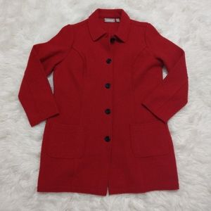 Chico's Red Boiled Wool Long Jacket Coat Size 2